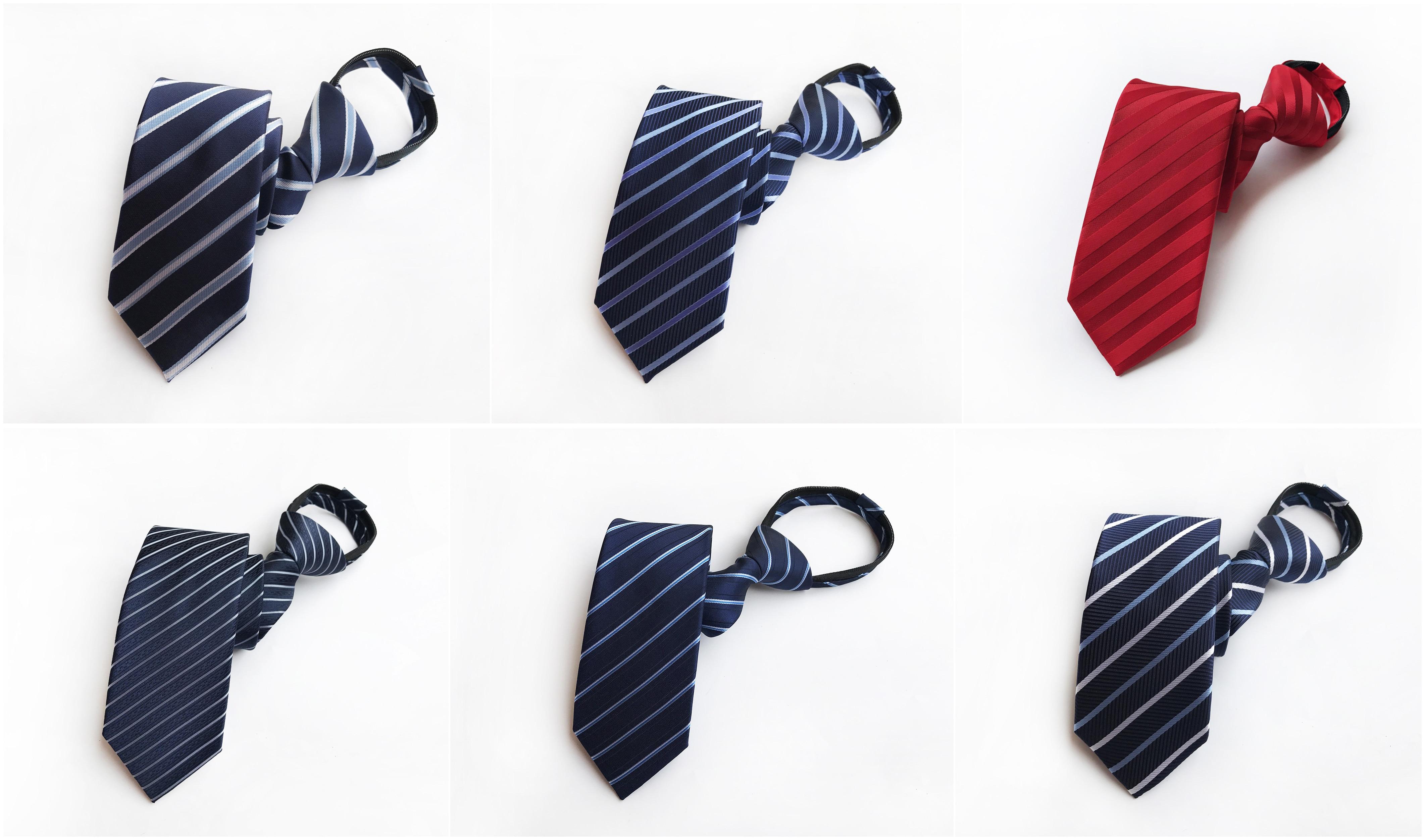 Men's Simple Personality Unique Design Fashion Convenient Fast Zip Tie 8 Cm Wedding Groom Lazy Easy To Pull Decorative Tie