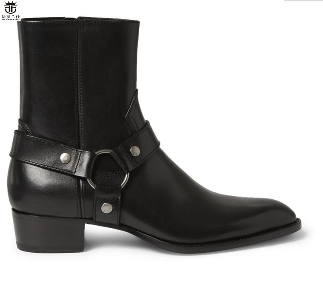 Fr.Lancelot 2018 Chelsea Boots Men Black Leather Boots Metal Real Leather Ankle Booties High Top Zip Up Men Boots by Fr.Lancelot