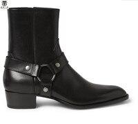 FR. LANCELOT 2019 Ботинки Челси мужские черные кожаные ботинки Металл Натуральная кожа ботильоны высокие молнии мужские ботинки