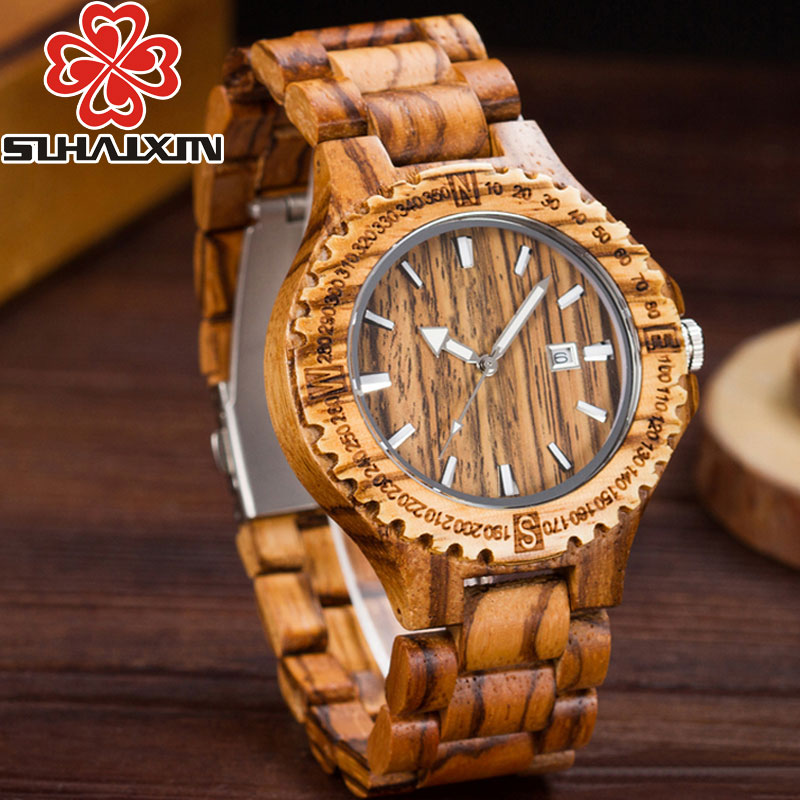 SIHAIXIN Zebra Wood Watch Men Date Luxury Brand Sport Male Full Nature Bamboo Wooden Band Male Clock Minimalist Man Watches Gift 019z luxury clock gift full wooden watches man creative sport bracelet analog nature bamboo quartz wristwatch male wood watch