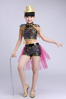 Children's Sequined Jazz Dance Costumes Girl Hip Hop Dancewear Modern Dance Clothing Girls Fringe Stage Performances