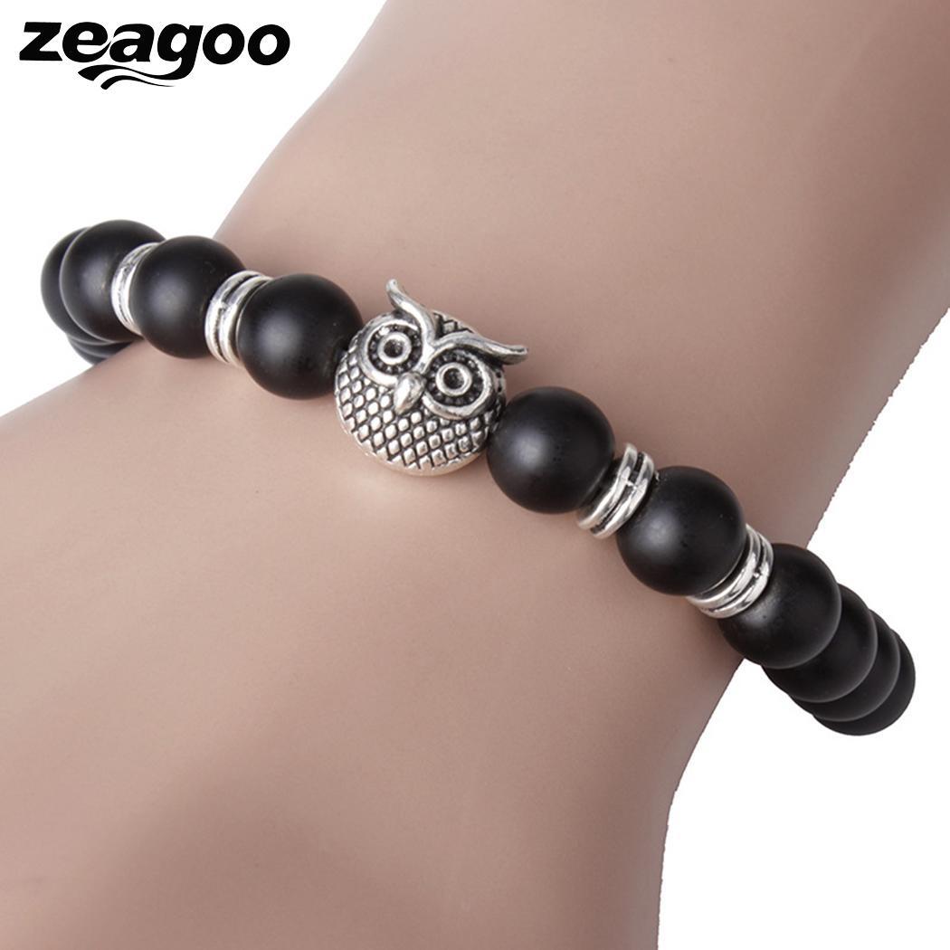 Jewelry Fashion Beaded Owl Bracelet Matte Black Stone Round