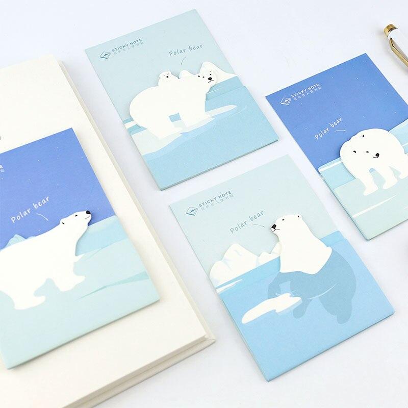 ᗚ1 piezas Oso Polar papel del cojín notas sticky note Bloc de notas ...