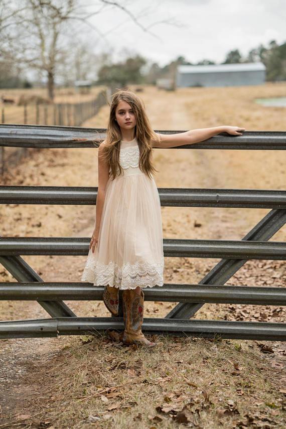 72ecaf90bb7c5 Sleeveless Junior Dress Lace Country Flower Girl Dresses For Wedding ...