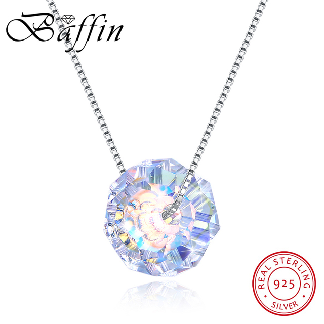 ebe3d65bf4 BAFFIN Crystals From SWAROVSKI Slightly Oval Beads Necklaces Pendants 925  Sterling Silver Chain Ball Shaped Necklaces For Women