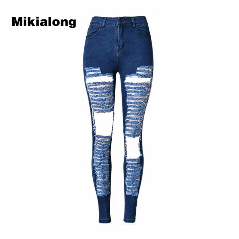 2017 Sexy Hole Ripped Jeans for Women High Waist Pencil Stretch Skinny Jeans Mujer Slim Cotton Casual Denim Pants Women women sexy distressed hole denim jeans fashion cotton stretch full length jeans high waist skinny pencil pants