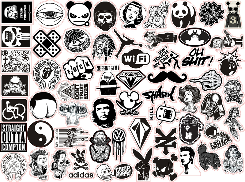 60pcs pack random music skateboard guitar travel case sticker black and white car decal cute stickers fashion funny sticker in car stickers from automobiles
