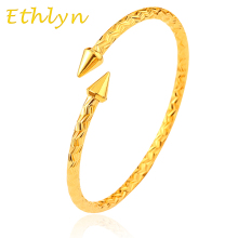Ethlyn Ethiopian Men jewelry Gold Color Opening embossing gold bracelets & bangles for men B18