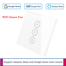 EU WiFi Celling Fan switch Glass panel switch App remote control Fan Smart home with Google and Alexa support voice control цена и фото