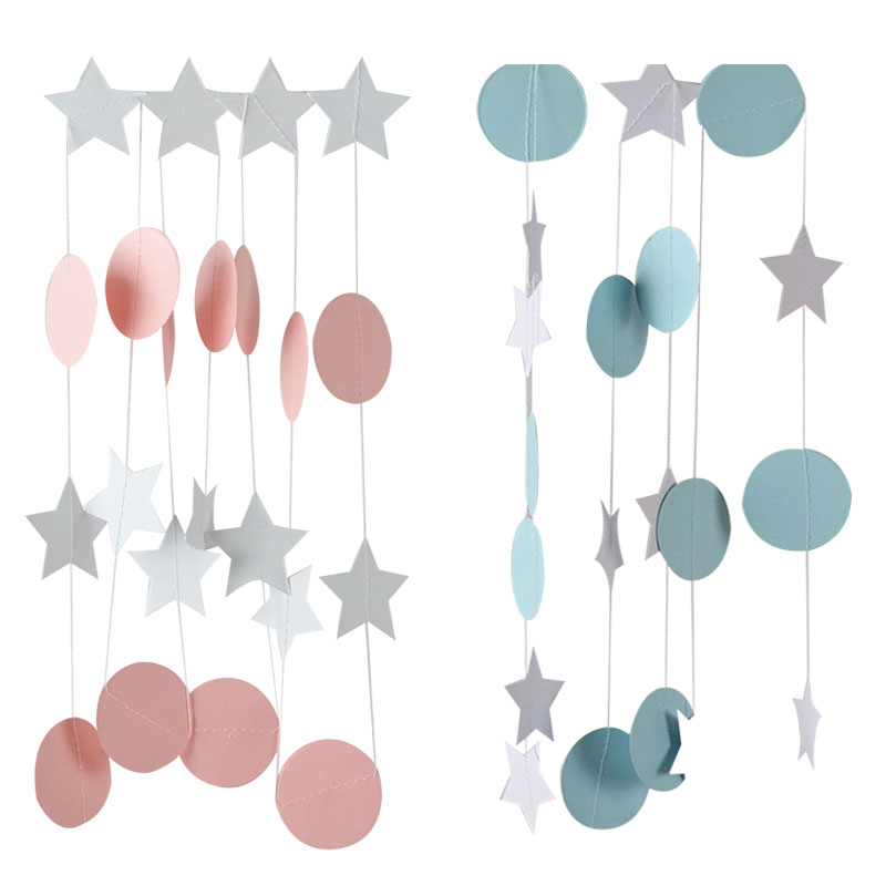 2m Blue/pink Round Star Banner Paper Garlands Boy/girl Baby Shower Favor Supplie Hanging Bunting For Birthday Wedding Party Deco