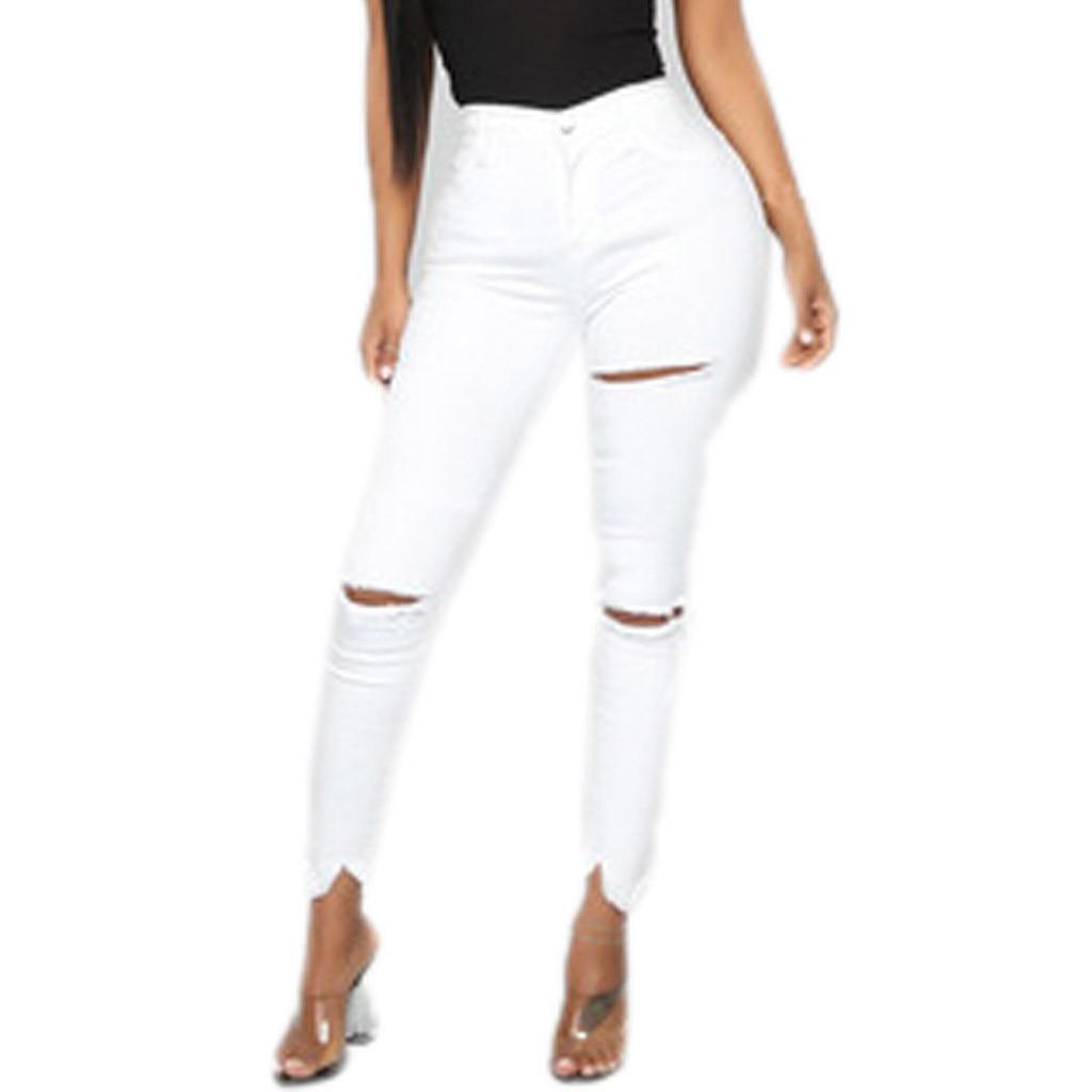 2019 Sexy Women Skinny White Jeans Mid Waist Stretch Pencil Pants Fashion New Ladies Slim Denim Overalls Jeans Pants Damskie