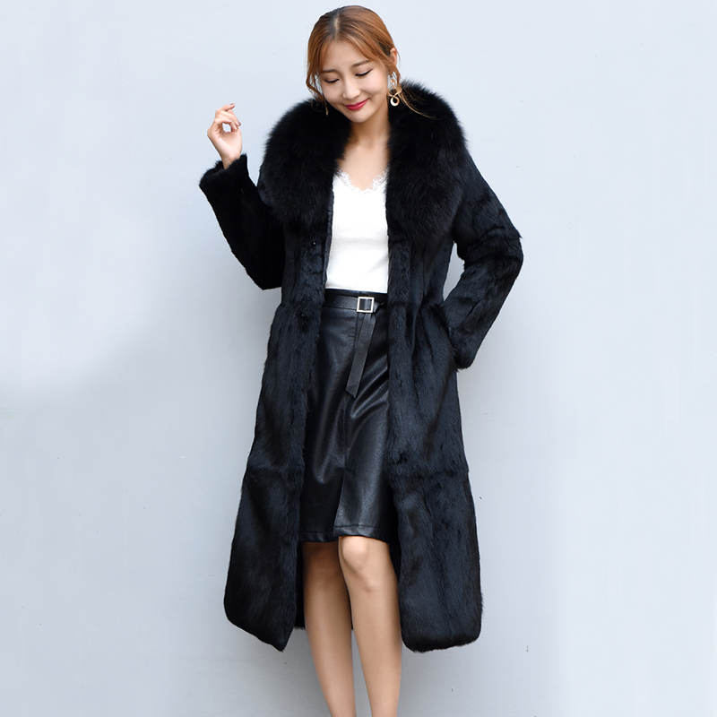 Long femmes vêtements réel manteau de fourrure grande taille nouveau 2019 vêtements naturel manteau de fourrure de lapin avec col de fourrure de renard naturel sr602