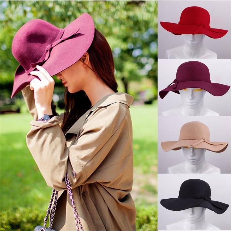 5a2fad5405029 Sombreros de fieltro de lana de las mujeres grandes ala sombrero mujer  sombreros sombrero de mujer Vintage de lana de Color sólido suave sombrero  ajustable ...