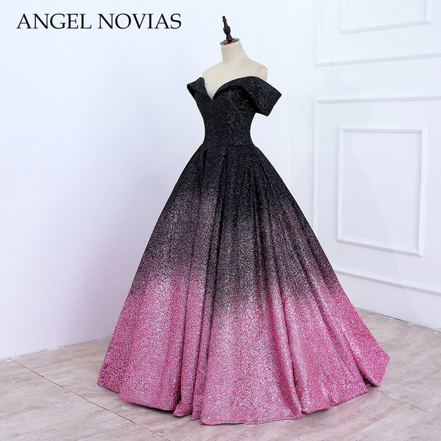 ANGEL NOVIAS Long Glitter Saudi Arab Ball Gown Evening Dresses 2018 Lace Up  Real Picture Evening Gown 42dae9960dd3
