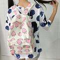 Lolita Morango Impressão Mochilas de Lona Mochila Escola Bags para Adolescentes do Sexo Feminino Mochila Menina Fruto Viagem Mochila Q054