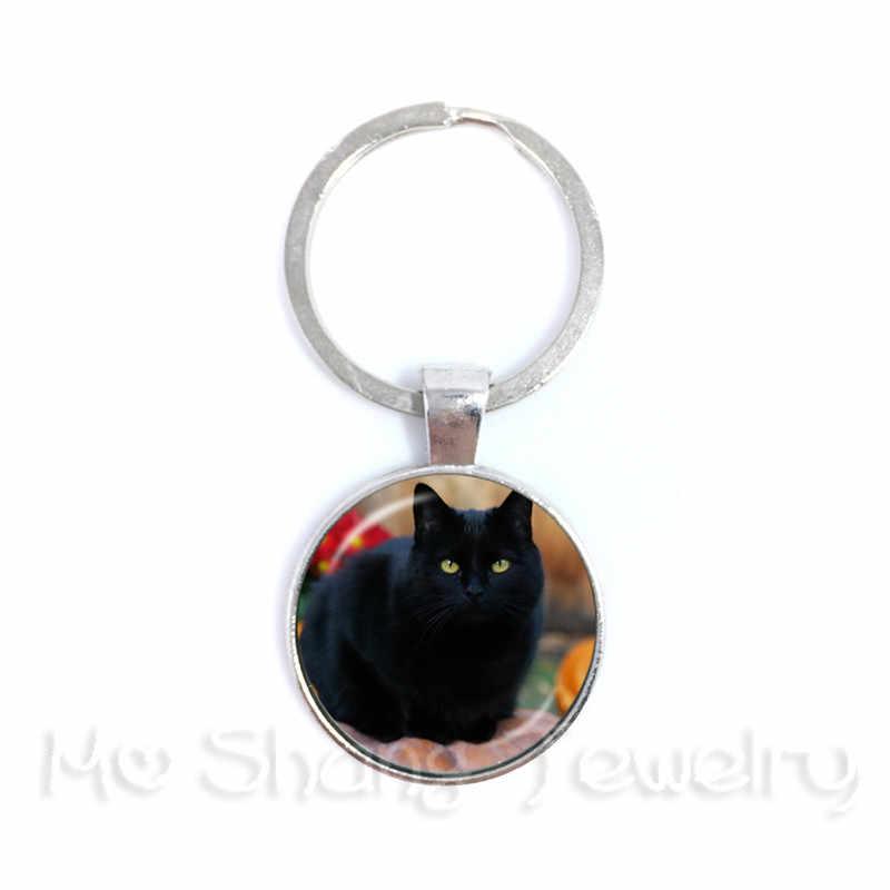 Черный кот брелок круглый купол стеклянный Животное ручной работы модный