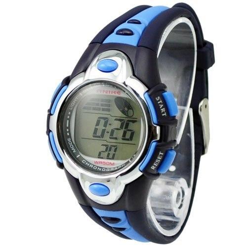 Free Shipping Fashion 7 Colors Flash Lights Cheap Digital Watch 50m Waterproof Chronograph Digital Sports Watch - Blue