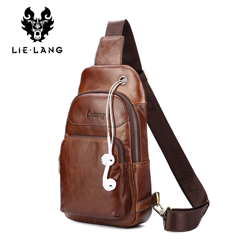LIELANG chest Bag Genuine Leather Men Shoulder Bag Casual Brown Cowhide Leather Men s Crossbody Bags