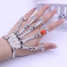 Beadsras goth skeleton pulse bone rock skull punk hand red bracelet