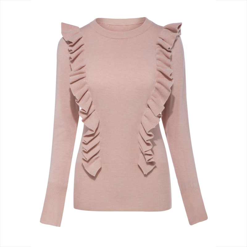 Young17 Autumn Sweater Women 2017 Pink White Falbala Patchwork Casual Slim Knitted Knitwear Sweater Female Pullover