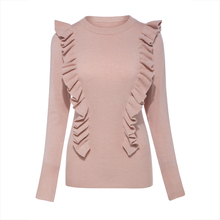 Young17 Autumn Sweater Women 2017 Pink White Falbala Patchwork Casual Slim Knitted Knitwear Sweater Female Pullover Sweater