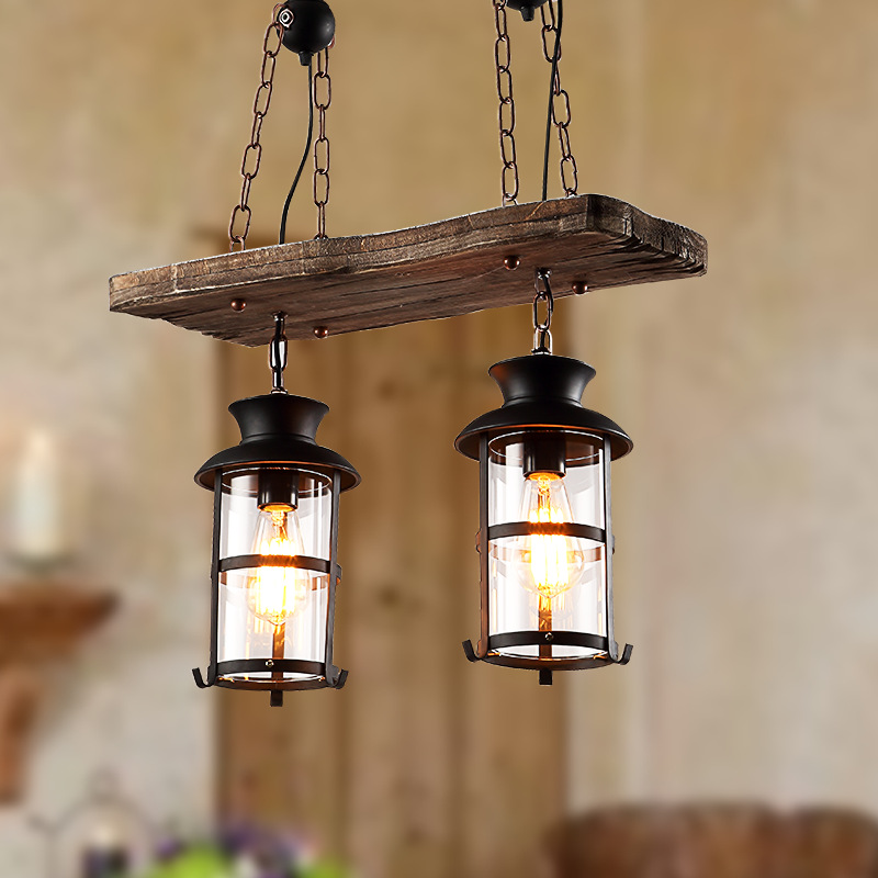Vintage Retro Loft American Country Style Dual Heads Metal Droplight with Wood Panel Chain Pendant Light for Bar Cafe Inn - 2