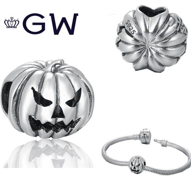 مجوهرات هالوماس 925 فضة خرز على شكل يقطينة يناسب قلادة سوار ذاتي الصنع مصوغات مجوهرات GW T171