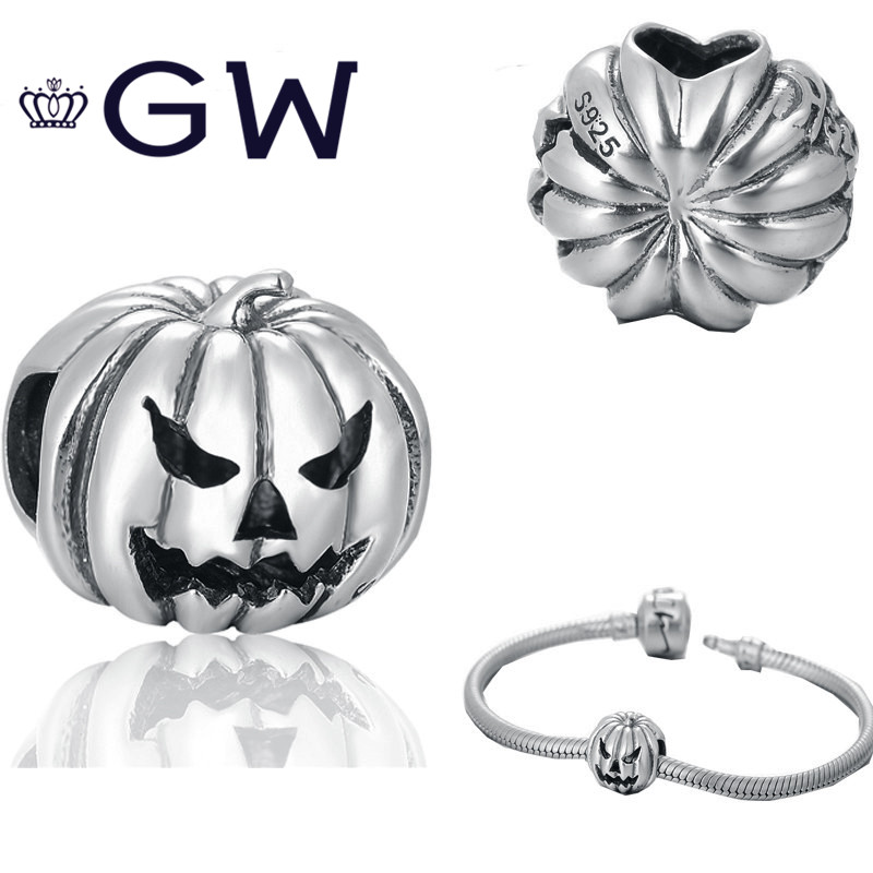 Hallowmas Jewelry 925 Sterling Silver Pumpkin Charms Beads Fits For Diy Bracelet Pendant missangas bijoux GW Jewelry T171 брелок gw jewelry