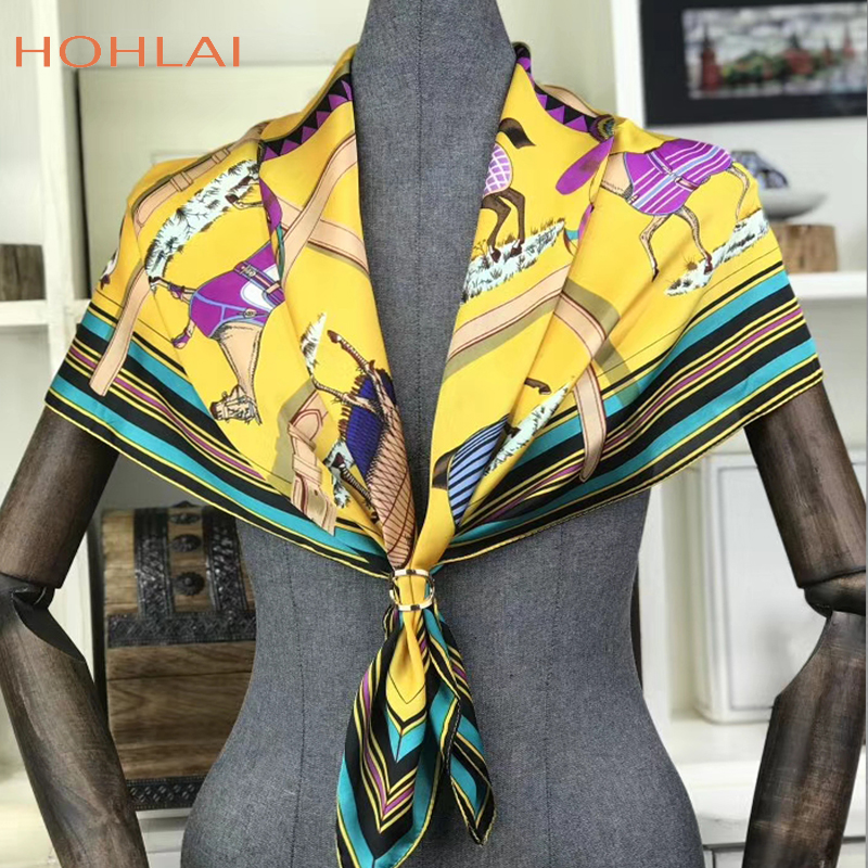 Yellow Horses Scarf Women Head Hijab Luxury Brand Bandana Foulard Square Scarves Animal Print Shawl&Wraps Hot Sale 90*90cm