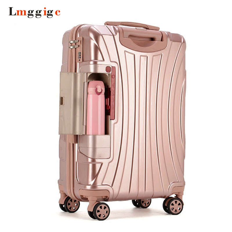 PC <b>Rolling Suitcase</b> with Cup holder,<b>Travel Luggage Bag</b> ,Universal ...