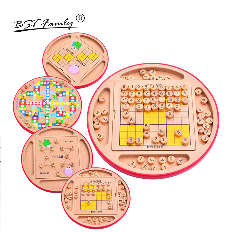 BSTFAMLY Children Sudoku Chess Beech Wooden Five in One 28*28.5*4.5cm 100Pcs/Set Table Puzzle Game Kids Toy Interesting Gift S05