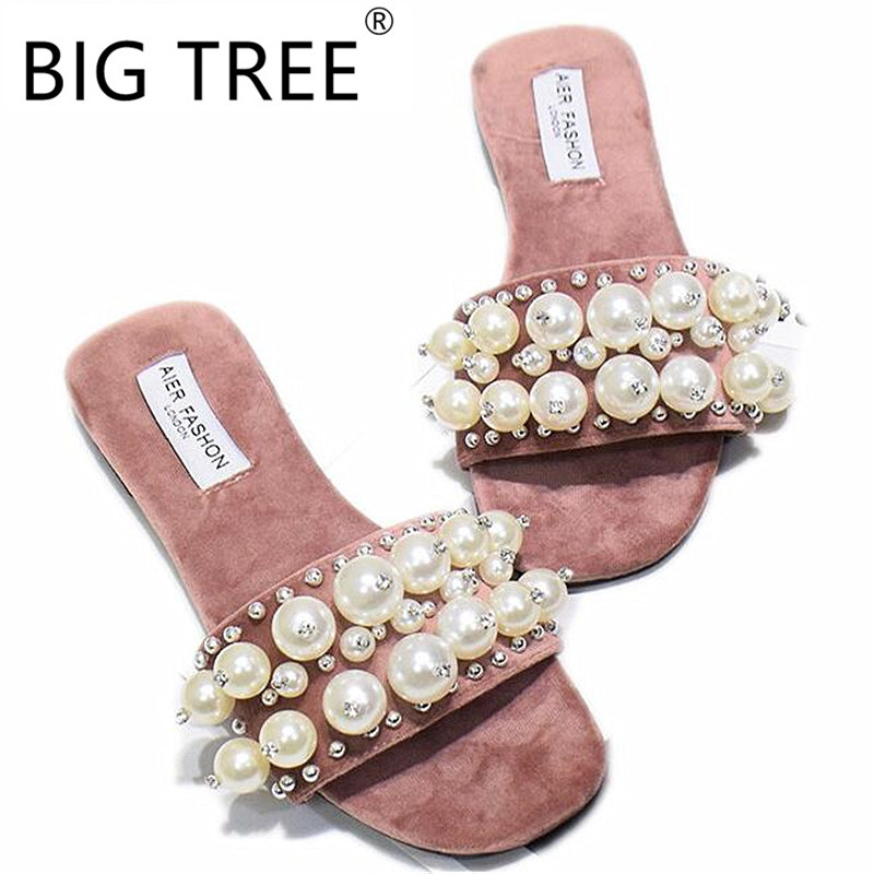 New Women Pearl Beach Shoes Flat Woman Sandals Summer 2019 Woman Shoes Lady Fashion Slippers Luxury Shoe Women Designers SlipperNew Women Pearl Beach Shoes Flat Woman Sandals Summer 2019 Woman Shoes Lady Fashion Slippers Luxury Shoe Women Designers Slipper