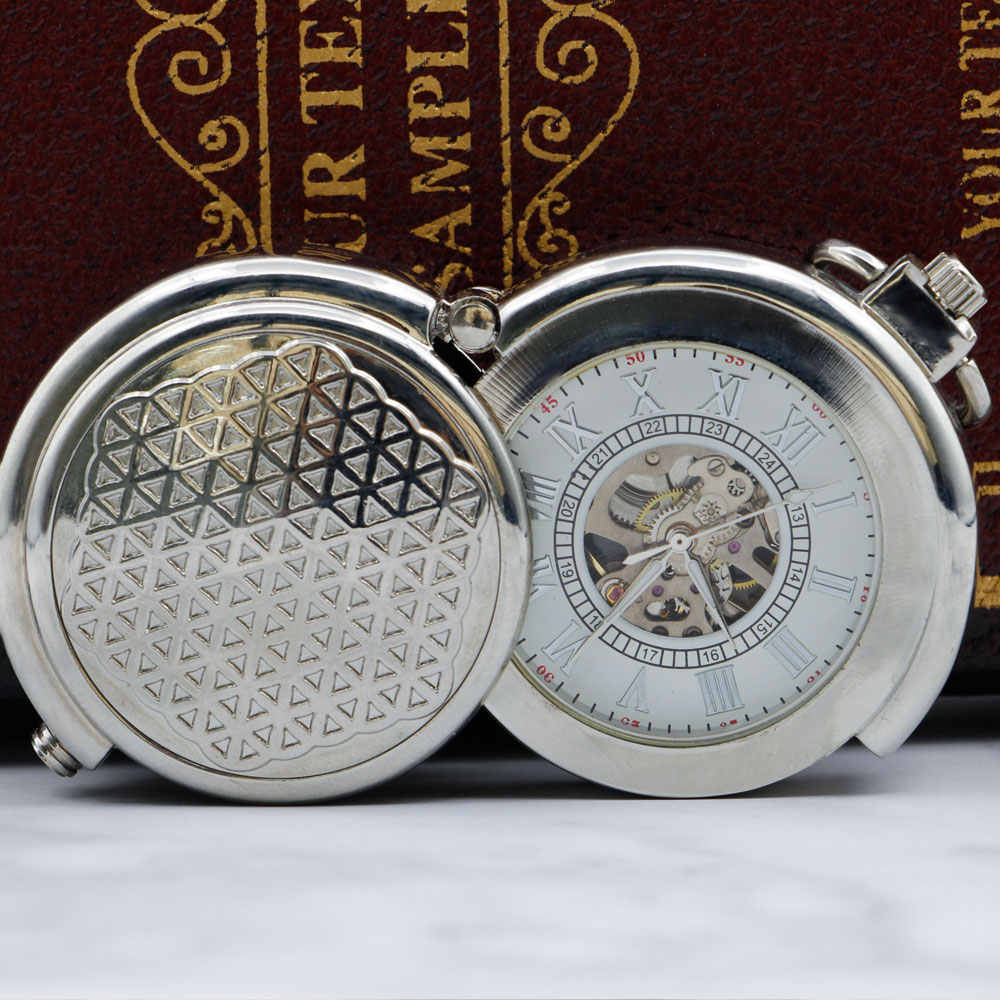 New Unique Skeleton Vintage Silver Mechanical Pocket Watch with Chain for Men Women  PJX053