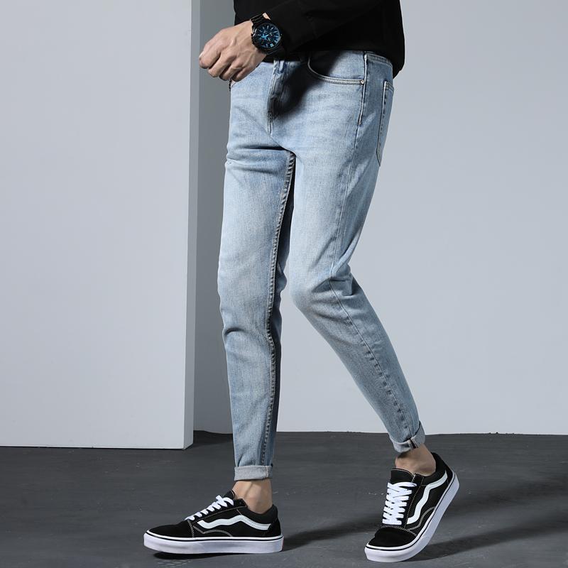 Men's Skinny Blue Jeans Men Slim Fit Denim Pencil Pants Casual Skinny Stretch Trousers 2019 High quality Male Zipper Jeans homme