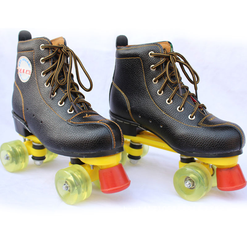 ФОТО New Double Line Roller Skates Boots for Women Men 4 Wheels Skating Shoes for Outdoor Indoor Sports