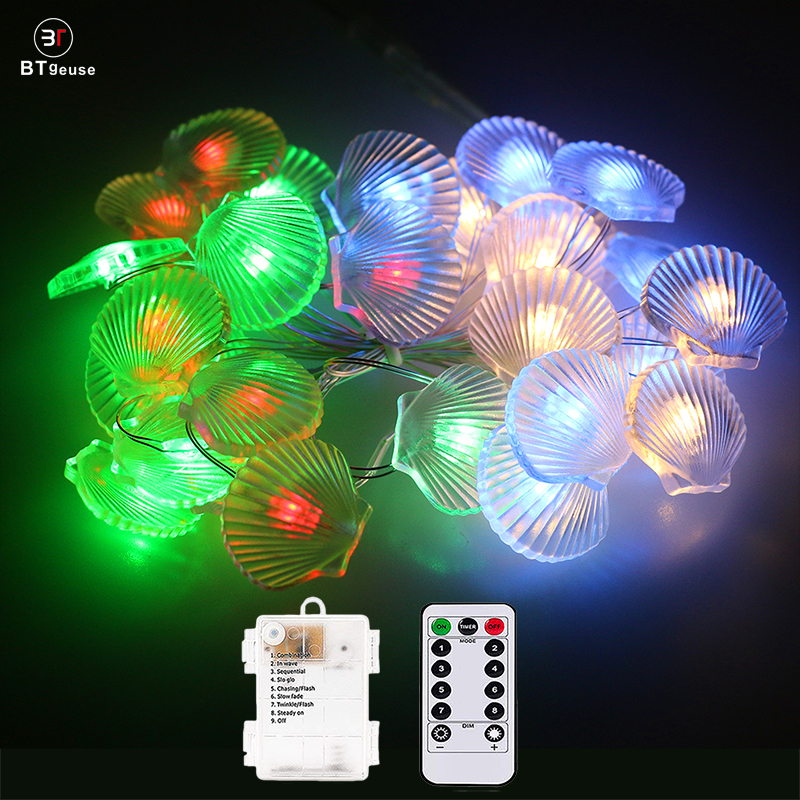 BTgeuse Shell Led Light For Bedroom Holiday Party Garden Decoration 30 LED 88 Inch Colorful String Light With Remote Control
