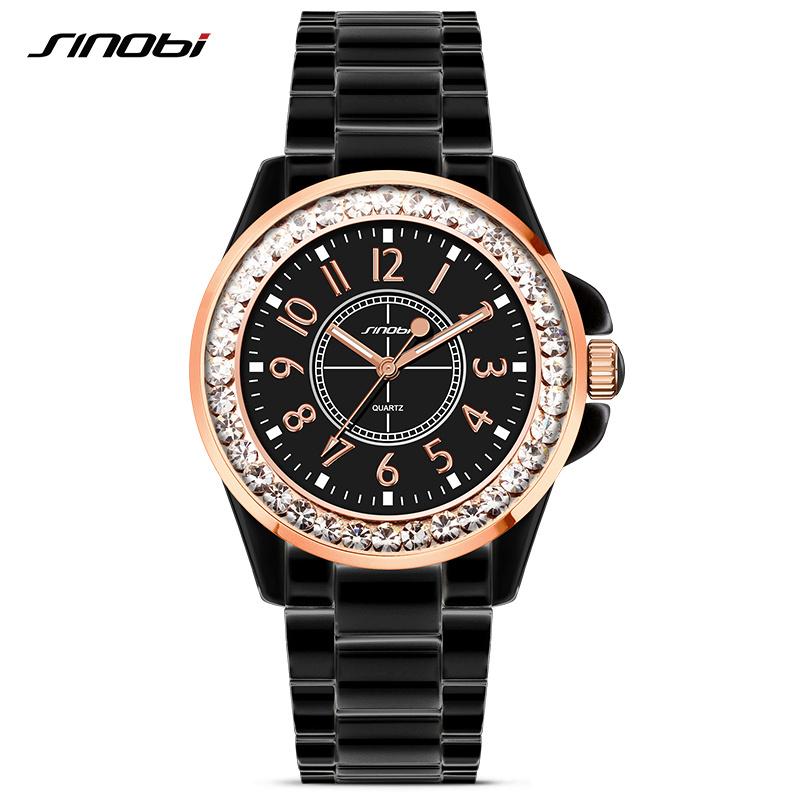 Prix pour Sinobi mode femmes diamants montres imitation céramique bracelet haut de luxe marque robe dames genève quartz horloge 2017