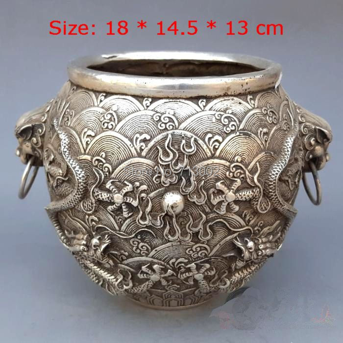 Very Rare Vintage Tibetan Silver 2 Dragon jug pot With Lion Lucky Talisman