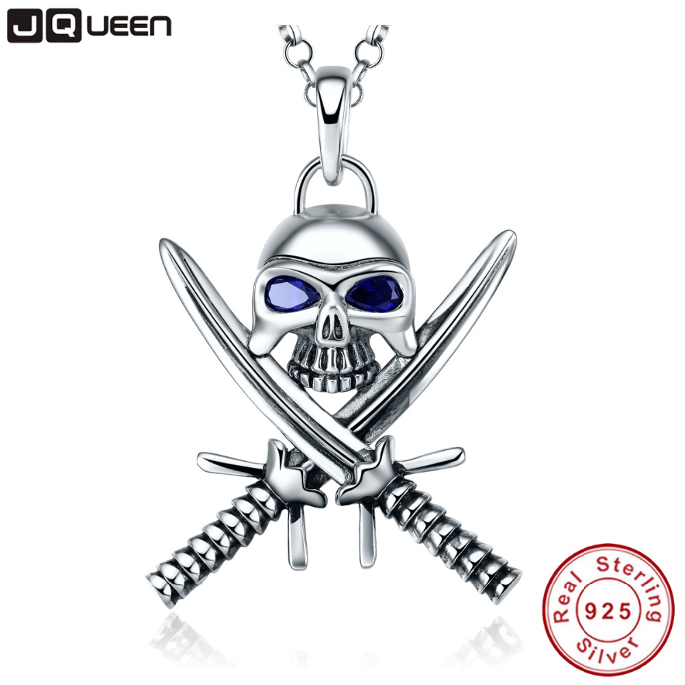 925 Sterling Silver Necklace Double Knife Man Skull Pendant Necklace Punk Style Pirate Jewelry Sapphire Statement Necklace punk style skull pendant choker necklace for women