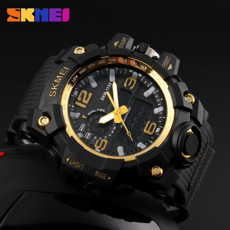 SKMEI Large Dial Shock Outdoor Sports Watches Men Digital LED 50M Waterproof Military Army Watch Alarm Chrono Wristwatches Mens