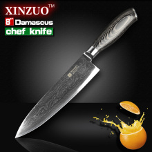 8″ inches chef knife High quality 73 layers Japanese VG10 Damascus steel kitchen chef knife sharp hard wood handle free shipping