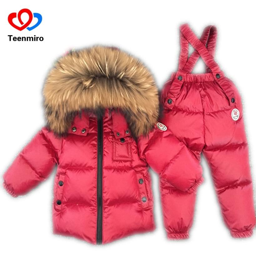 Bébé fille hiver vêtements Onesie enfants vêtements ensemble Ski costume enfants combinaison chaud manteaux canard en duvet de fourrure à capuche veste bavoir pantalon