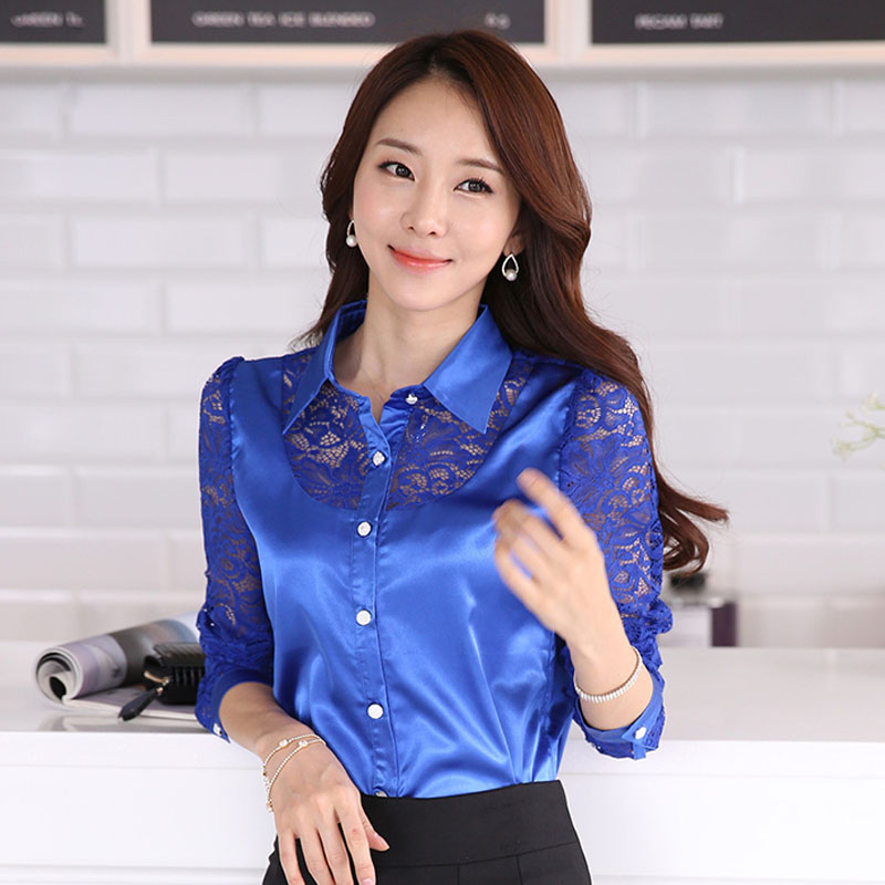 High Quality Blue Silk Blouse-Buy Cheap Blue Silk Blouse lots from ...