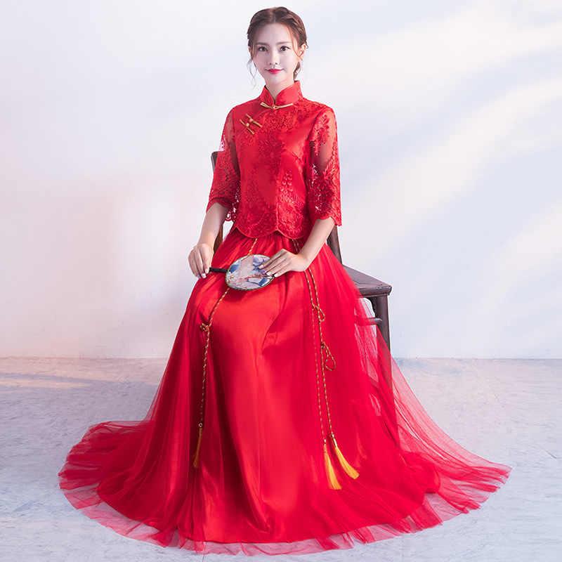 花嫁繁体字中国語ウェディングドレスチャイナレース赤袍オリエンタルスタイルドレスローブのみ   ヴィンテージ Chinees Jurkje
