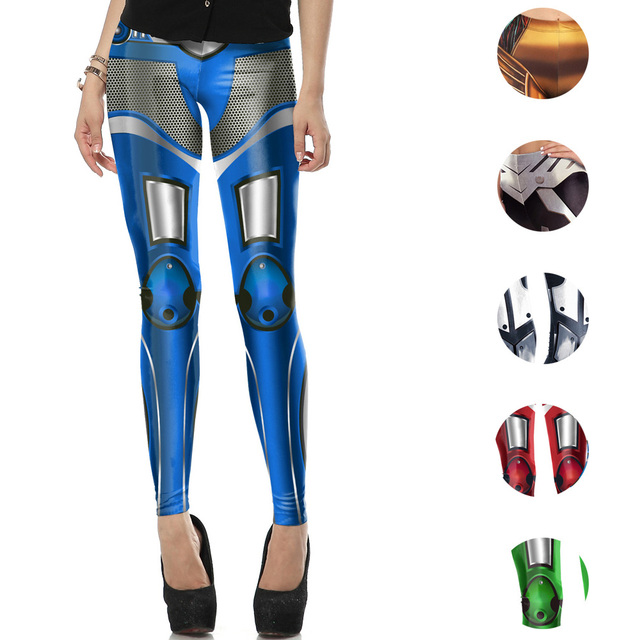d14ec6a6d Iron METAL Armour Cosplay Yoga Pants Fitness Running Legging Skinny Halloween  Tights Metallic MechWarrior Punk Women Trousers