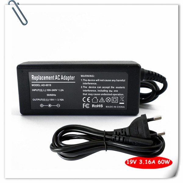 AC Adapter Charger for Samsung 19V 3.16A AD-6019 630 680 820 850 X05 X10 P30 NP-E352 AD-6019R Notebook Power Supply Cord 60w