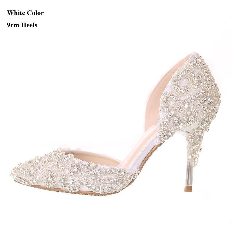 2018 Beautiful Rhinestone Wedding Shoes High Heel Pointed Toe Bride ... 45bb02206956
