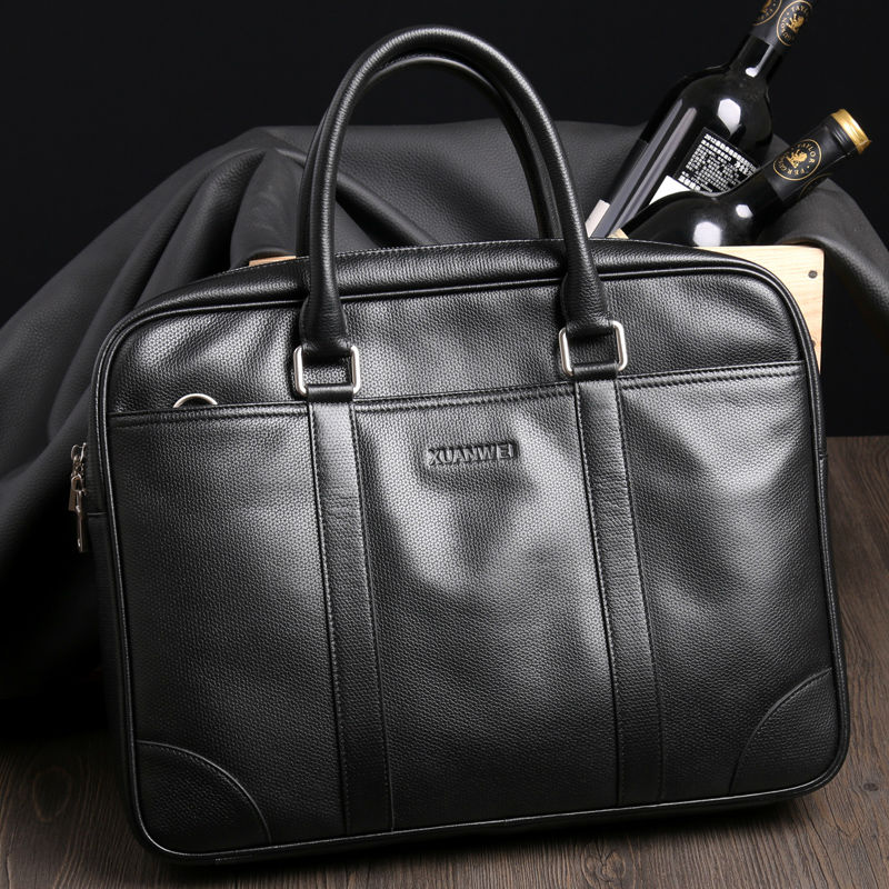 XuanWei 100% Genuine Cow Leather Luxury Business Totes High Quantity Black Blue Brown Men Handbags & Crossbody Bags (XW-5015)