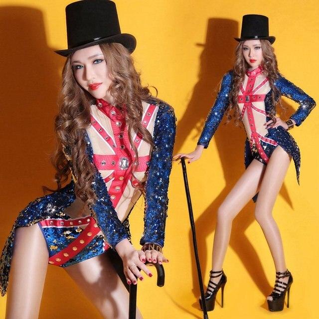 Женский синий блесток боди Великобритании шоу ночной клуб Ds сексуальный костюм блестка джазовый танец dj певица стул износ производительность