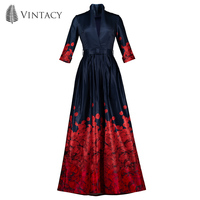 Vintacy Vintage Dark Blue Dress Women Red Petals Printed Skater Dresses Autumn Deep V Neck Belted